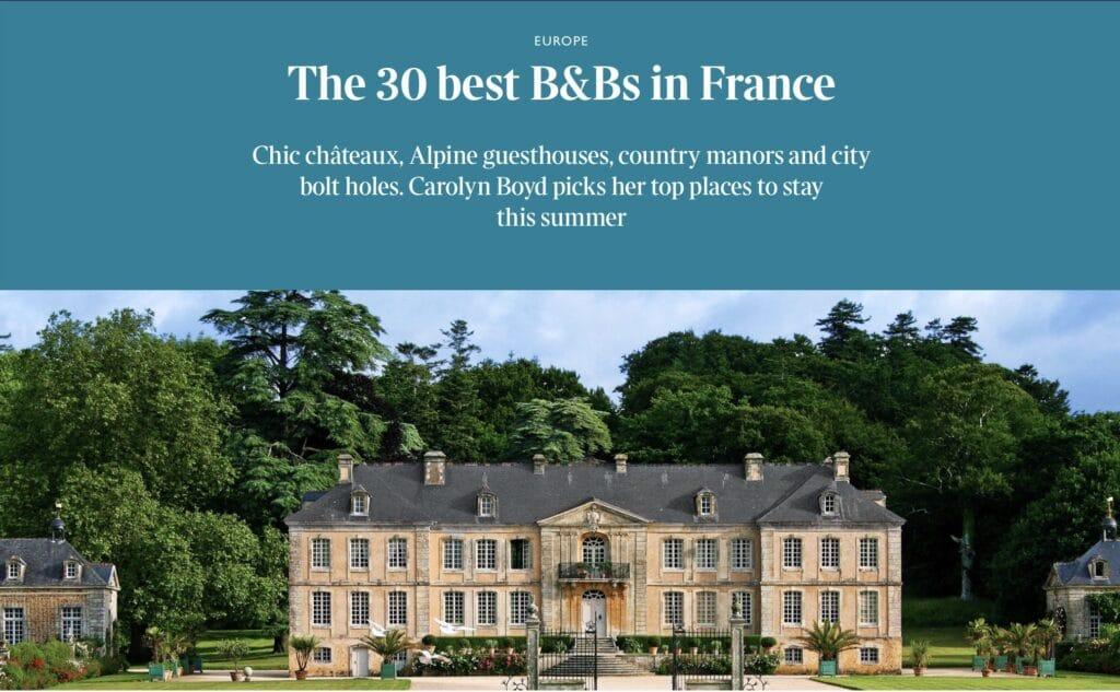 The Time, Aux 4 Cornes parmi les 30 meilleurs B&B en France